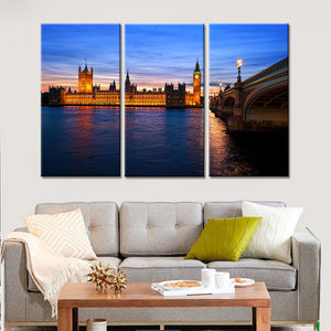 3 Pieces London Bridge Wall Art Canvas Seascape Paintings Living Room Home Decoration