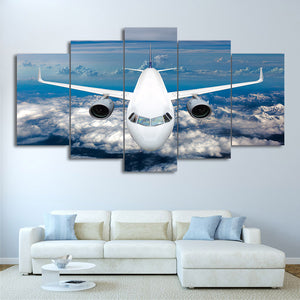 HD Printed 5 Piece Canvas Art Airship Cross Blue Ocean Painting Wall Pictures Living Room Home Decor