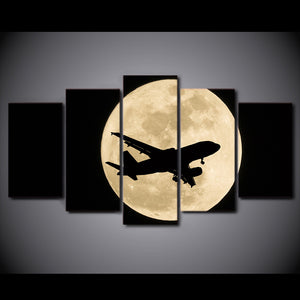 HD Printed 5 Piece Canvas Art Airplane Moon Night Painting Wall Pictures Living Room Modern