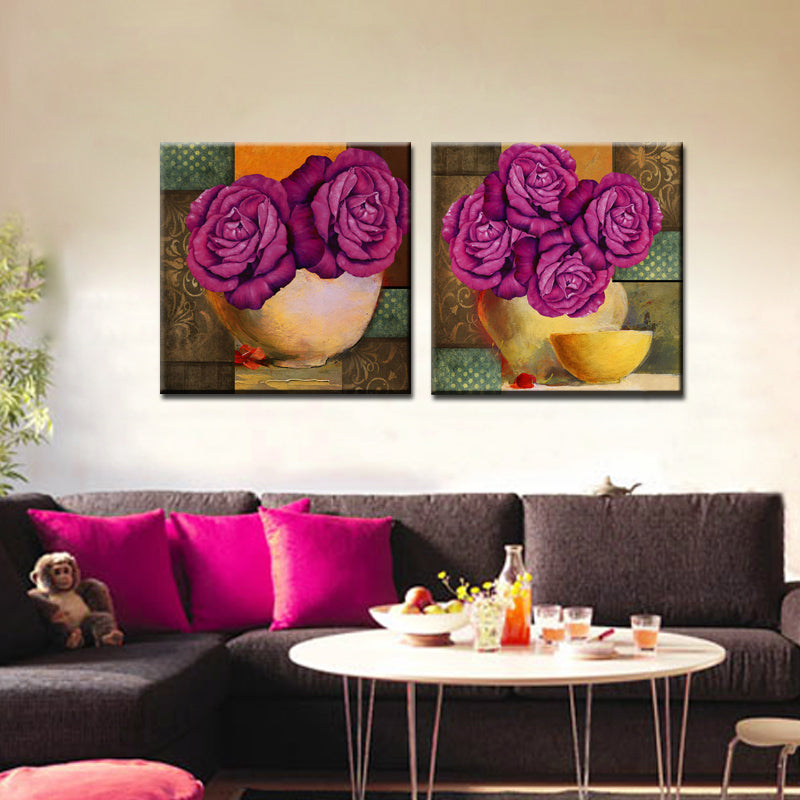Hand Painted 2 Piece Canvas Red Flower Oil Painting Canvas Art Home Decoration