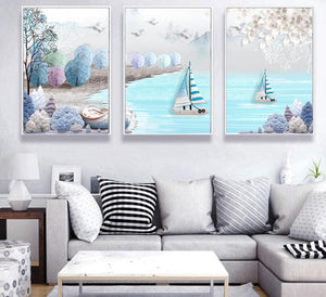 Modern Minimalist Mediterranean Nautical Relief 3D Abstract Nordic Decorative Painting 3 Panels Canvas Poster Wall Art
