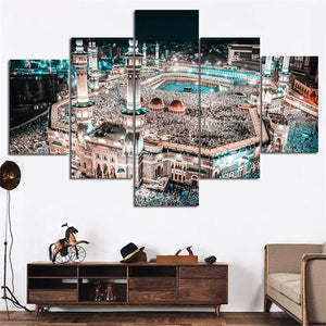 Modular Canvas 5 Panel Muslim Wall Art Islam Pictures Kids Room Painting