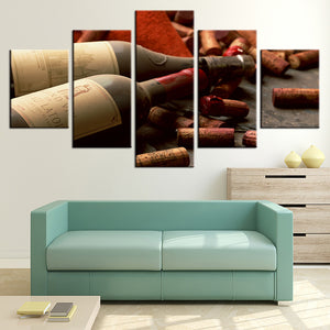 HD Prints Canvas Pictures Wall Art 5 Pieces Grape Red Wine Cork Bottle Stopper Paintings Kitchen Poster