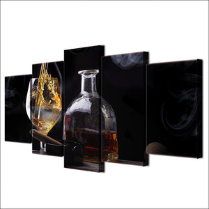 HD Printed Modern Canvas Pictures 5 Panel Wine Glass Painting Wall Art Modular Home Decoration Poster