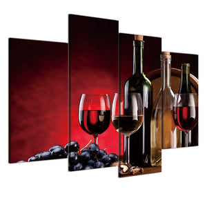 Canvas HD Wall Art Pictures 4 Pieces Red Wine Glasses Bottles Grape Printed Modern Painting Poster