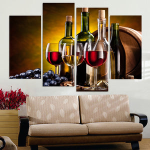 Posters Modern Wall Art Pictures 4 Panel Red Wine Glass HD Printed Cuadros Painting