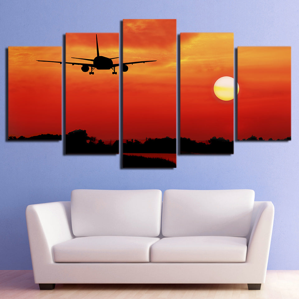 HD Printed 5 Piece Airplane in Red Sunset Canvas Painting Wall Pictures Living Room