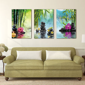 Canvas Painting Wall Art Decor SPA Stone Green Bamboo Pink 3 Panels Modern Zen Painting Prints