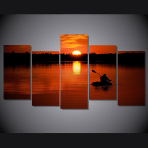 HD Print 5 Piece Canvas Art Lake Boat Sail Sunset Painting Room Decoration Print Poster Picture