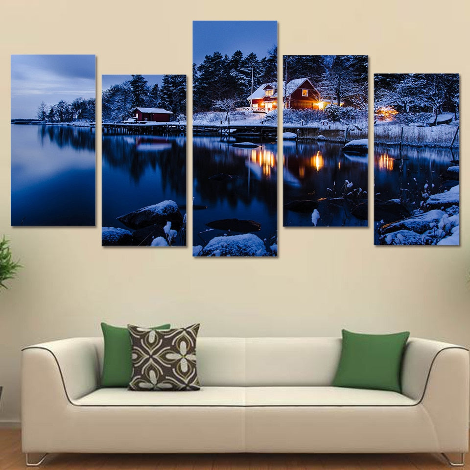 HD Printed Winter Snow Lake House Scenery 5 Pieces Group Painting Room Decor Print Poster