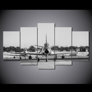 5 Piece Canvas Art HD Printed Plane Black White Painting Wall Art Home Decor Painting