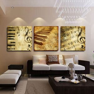 HD Printed Canvas Poster Wall Art 4 Pieces Classical Piano Music Notes Painting Modular Picture