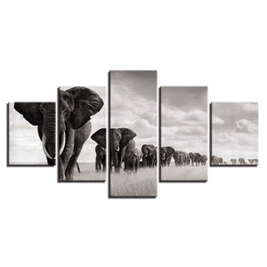 HD Wall Art Canvas Pictures Modern 5 Panel Elephants Landscape Posters Printed Cuadros Paintings