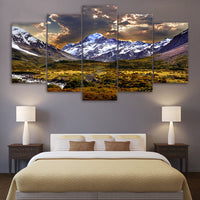 Painting Canvas Wall Art Picture 5 Pieces Sky Ice Mountain Grassland Natural Landscape
