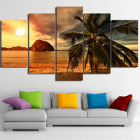 HD Canvas Wall Art Modern 5 Panel Tropical Beach Palm Tree Printed Pictures Painting