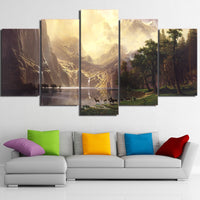 Canvas Wall Art Pictures Poster 5 Pieces Mountain Lake Natural Landscape Animal Deers HD Printed Painting
