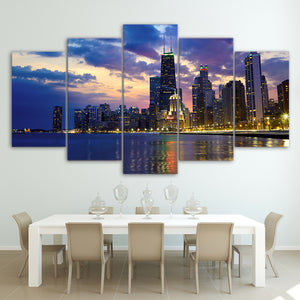 HD Painting Canvas Printed Wall Art 5 Pieces Busy City Chicago Night View Poster Modern Picture