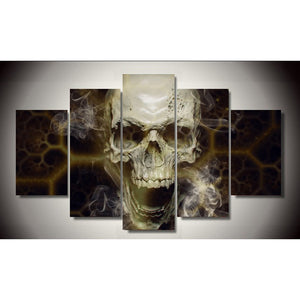 Canvas Wall Art Pictures Kitchen Restaurant Decor 5 Pieces Abstract Skull Smoke HD Printed Poster Painting