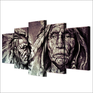 Modern Canvas Posters On 5 Panel Indians Wall Art Pictures HD Printed Cuadros Painting