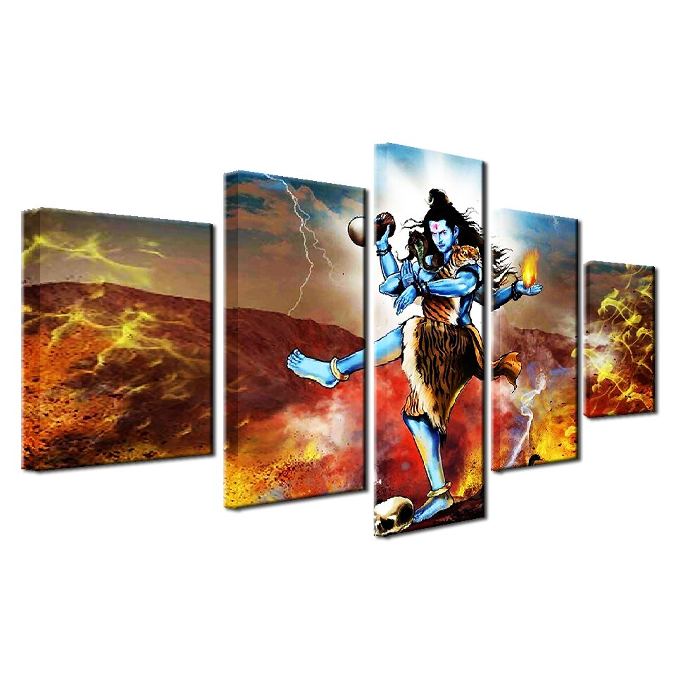 Modular Home Decor Living Room Wall Art Pictures 5 Pieces Hindu God Shiva Painting HD Printed Posters