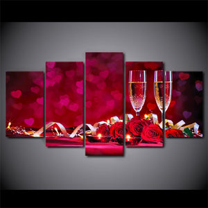 HD Printed 5 Piece Canvas Art Romantic Dinner Picture Red Roses Wine Wall Pictures Room Modern