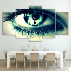 5 Piece HD Printed Green Woman Eye Painting Canvas Prints Room Decor Posters Prints