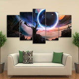 HD Print Canvas Poster Wall Art 5 Pieces Star Space Moon Planet Abstract Landscape Animal Deer