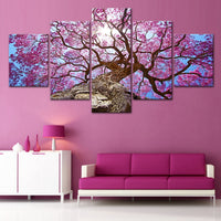 Wall Art Pictures 5 Pieces Beautiful Pink Cherry Tree Landscape HD Printed Painting On Canvas