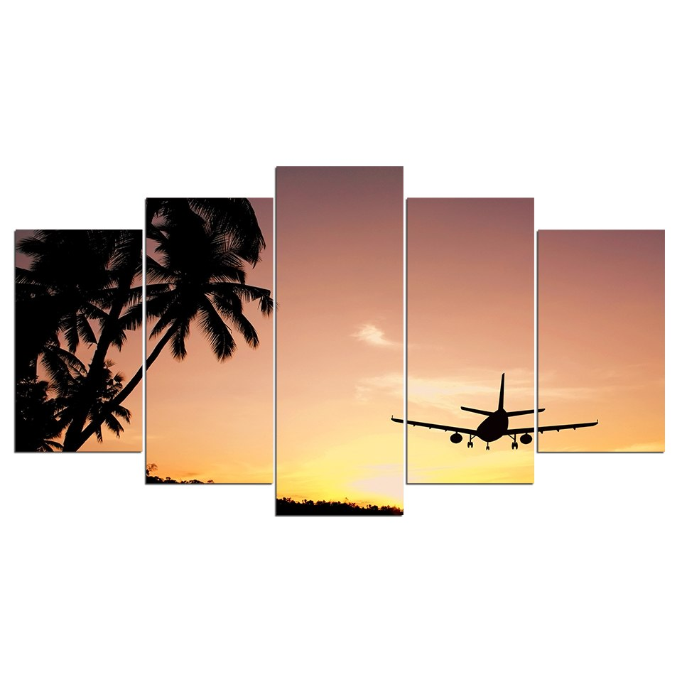 5 Piece Canvas Art HD Print Home Decor Seascape Painting Airplane Sunset Wall Picture Living Room