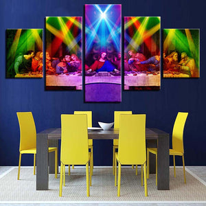 Modern Cuadros Painting On Canvas Posters 5 Panel Last Supper Wall Art HD Printed Pictures