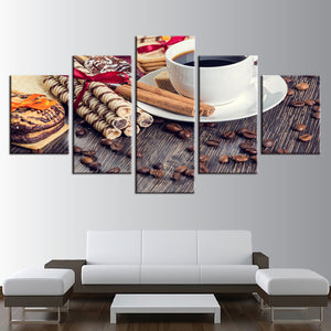 HD Canvas Wall Art Poster 5 Panel Coffee Chocolate Modern Printed Pictures Painting