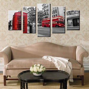 Modern HD Printed Wall Art Canvas Pictures 5 Pieces London Street Scene Red Bus UK City Vintage Painting Posters