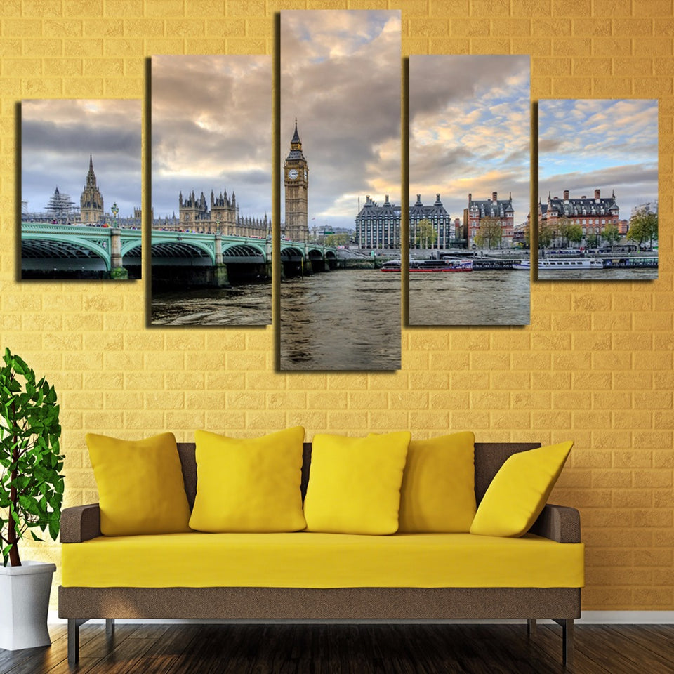 Canvas Wall Art Pictures 5 Pieces Big Ben London Bridge City Landscape HD Printed Poster Painting