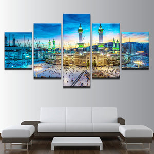 Modern On The Wall Art Modular 5 Panel Muslim Islam Building Abstract Painting On Canvas Pictures