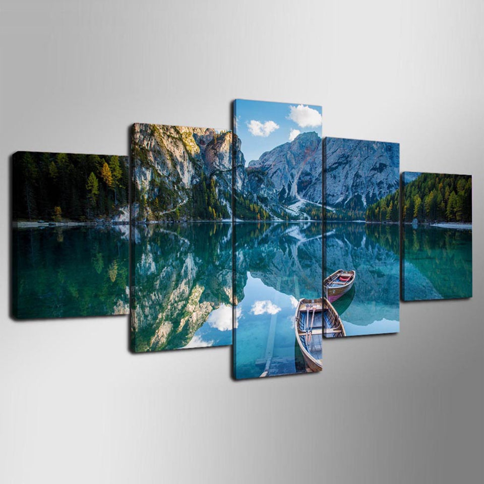 Canvas Painting Wall Art 5 Pieces Blue Sky Lake Boat Mountains Modern HD Print Landscape Poster