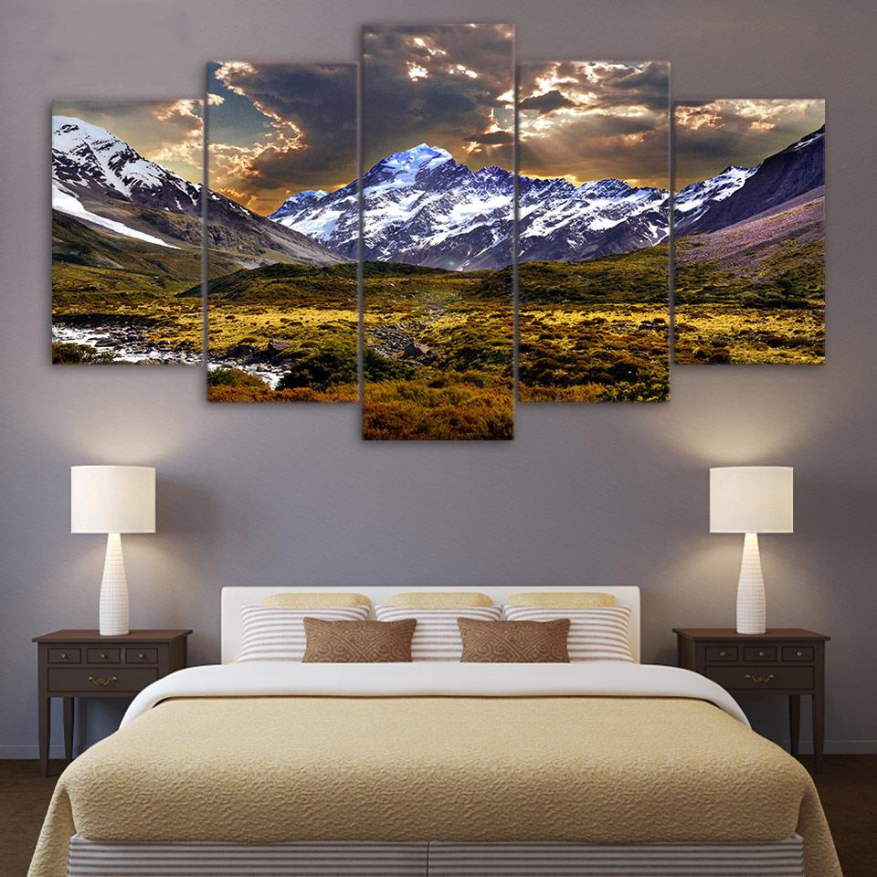 Modern Canvas Pictures HD Printed Wall Art 5 Pieces Sky Ice Mountain Grassland Natural Scenery