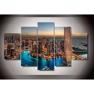 Canvas HD Poster Printed Modern Wall Art Modular 5 Panel Dubai City Skyscrapers Pictures Painting