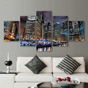 Canvas Wall Art Pictures Modern 5 Pieces Prosperity Chicago City Night Scenery HD Print Posters Painting