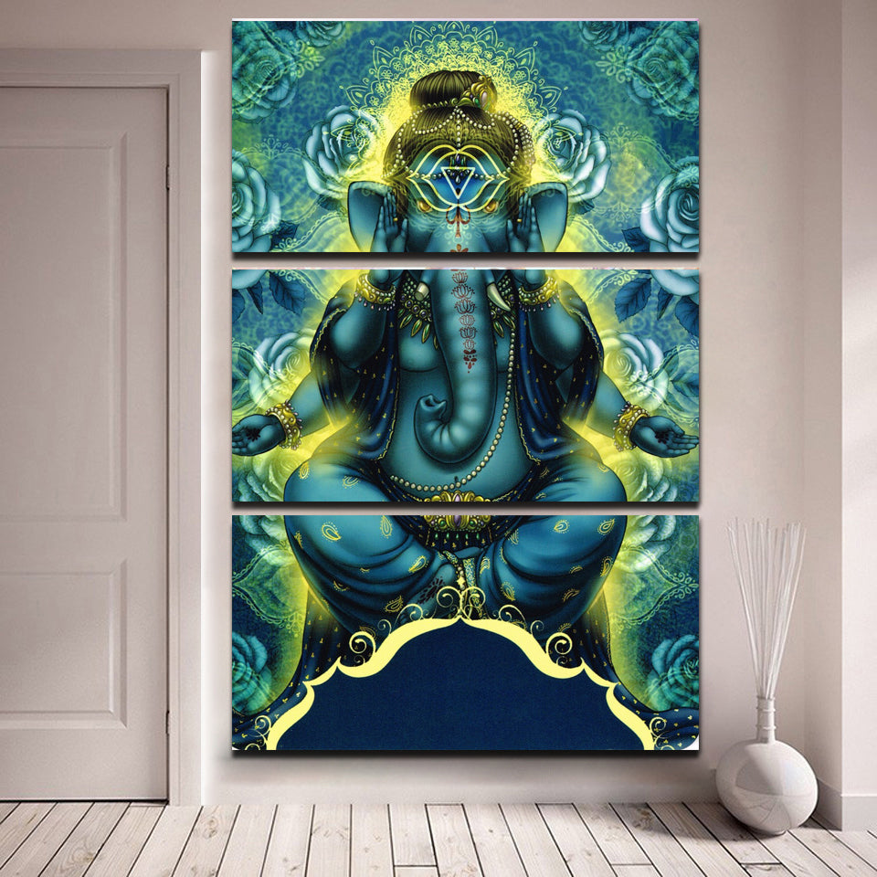 Canvas Wall Art Printed Modern Poster 3 Panel Hindu God Lord Ganesha Modular Cuadros Painting