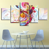 Modern Abstract Canvas Painting Wall Art Picture 5 Pieces Colorful Animal Peacock HD Printed Poster