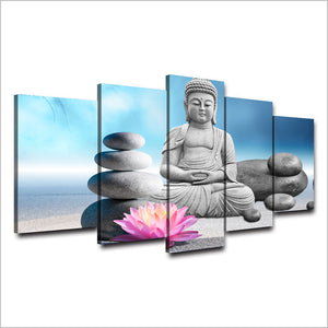 Canvas Wall Art Pictures 5 Pieces Stones Flower Buddha Statue Painting HD Printed Poster