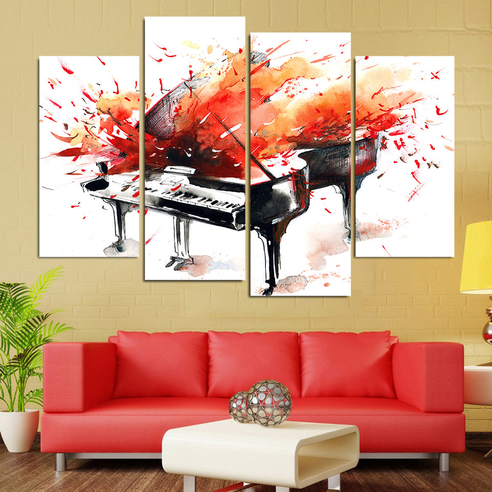 Modular Painting Canvas Wall Art Pictures 4 Pieces Abstract Red Piano Musical Instrument Modern Poster