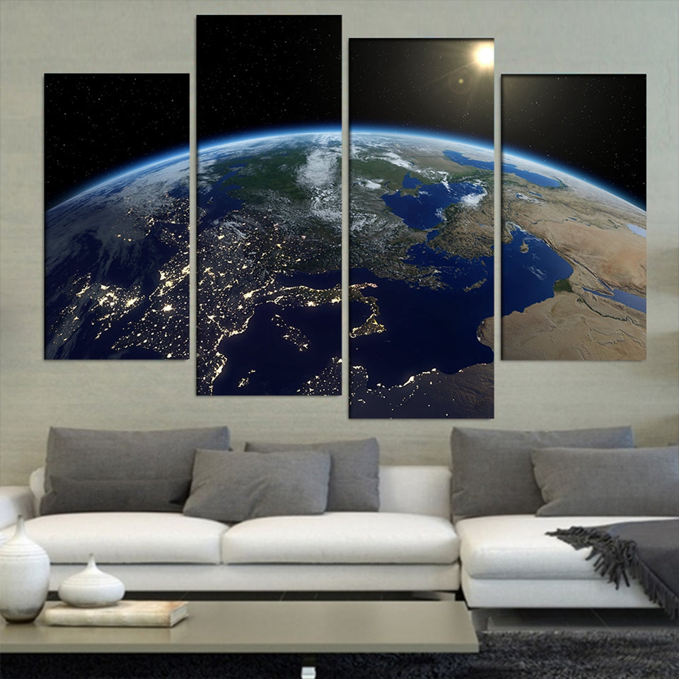 Canvas Painting Wall Art Decor 4 Pieces Universe Earth Space Sunshine Modern HD Printed Landscape Pictures