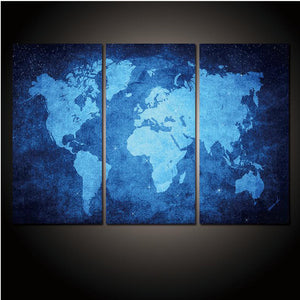 Art Picture Wall Posters Modular 3 Pieces World Map HD Printed Modern On Canvas Painting