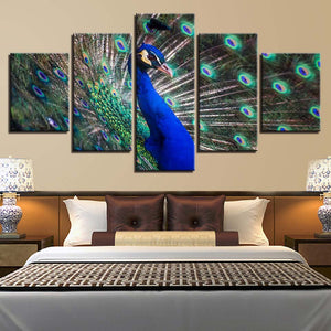 Canvas HD Prints Poster Wall Art Paintings 5 Pieces Beautiful Amazing Peacock Pictures