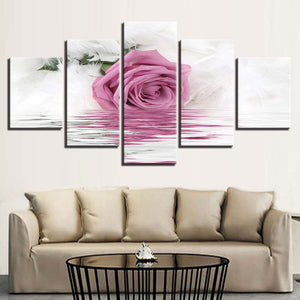 Modular Art Canvas Prints Pictures 5 Panel Pink Rose Wall Painting Poster