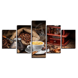Home Decoration Wall Art Painting Poster 5 Panel Coffee Beans Modern HD Printed Canvas Pictures