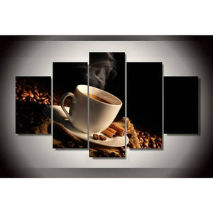 Modern Canvas Painted Wall Art Decoration 5 Panel Coffee Printed Coffee Beans Home Painting Picture Painting