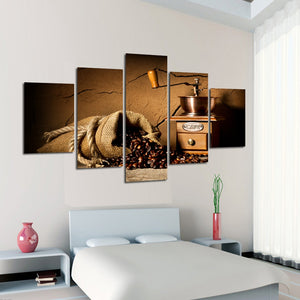 Canvas Painting Wall Art 5 Pieces Coffee Beans Modern HD Print Coffee Machine Landscape Picture