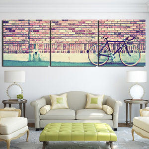 3 Piece Printed Bicycle Classic Red Brick Wall Painting Canvas Decoration Wall Panel Picture